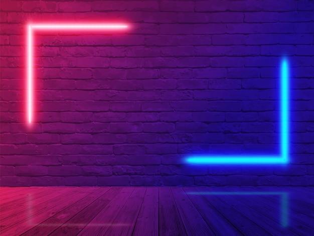 Quarto da parede de tijolo da luz de néon Vetor Premium