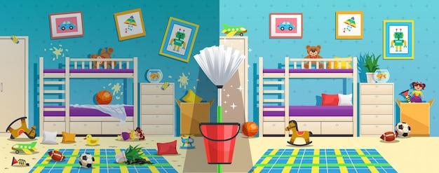 Quarto de crianças bagunçado com móveis e objetos de interior antes e depois da limpeza do apartamento Vetor grátis