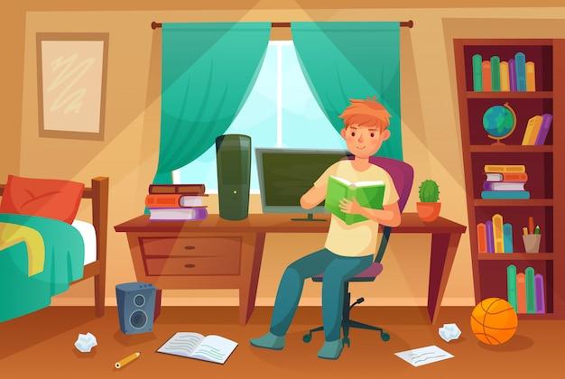 Quarto de estudante. adolescente ler bock, lição de casa da faculdade e estudante sala dos desenhos animados apartamento Vetor Premium