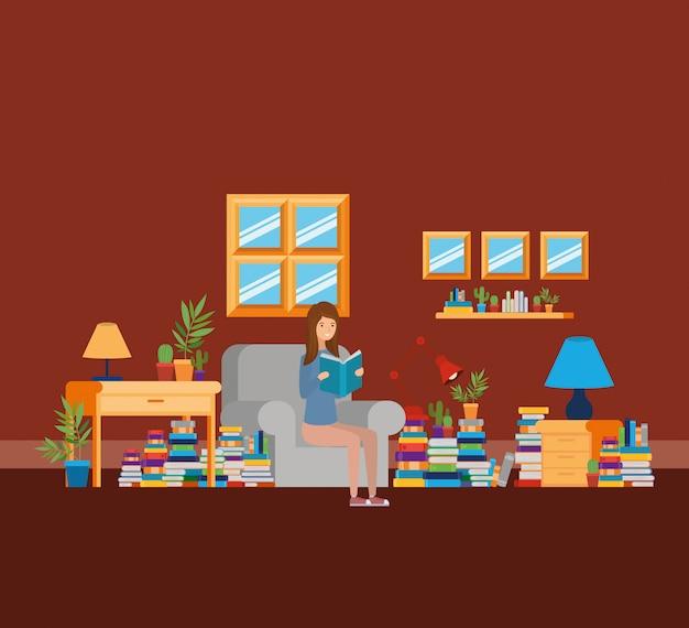 Quarto de estudo em casa com livros Vetor grátis