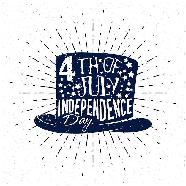 Quarto de julho, dia da independência dos eua. crachá em estilo vintage monocromático, texto em fundo cartola com sunburst. Vetor Premium