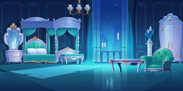 Quarto de noite, interior de estilo barroco, quarto vintage com cama de móveis de luxo com dossel, abajur, guarda-roupa, espelho, mesa e poltrona, apartamento escuro com ilustração dos desenhos animados de porta de varanda aberta Vetor grátis