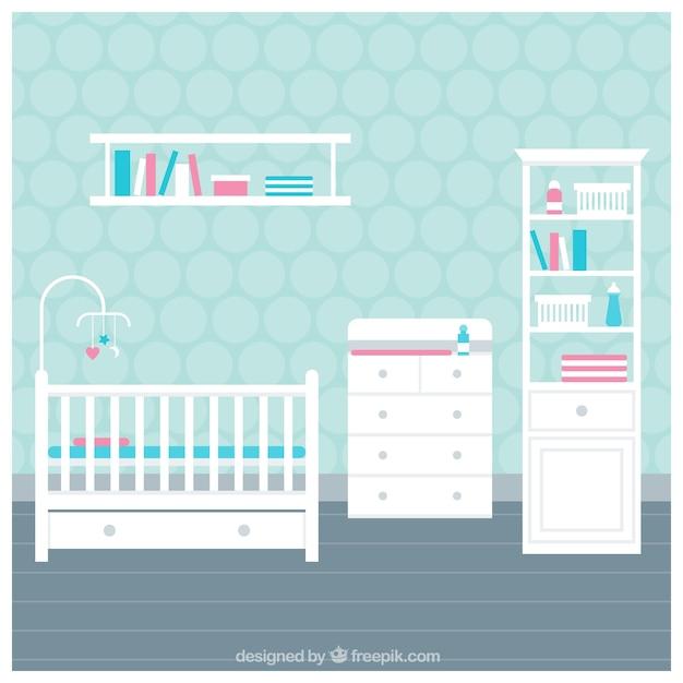 Quarto do bebê com móveis brancos Vetor grátis
