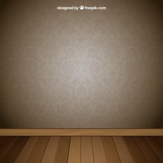Quarto interior com papel de parede retro baixar vetores - Papel de pared retro ...