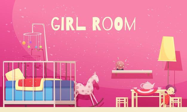 Quarto para menina com ilustração de paredes rosa Vetor grátis
