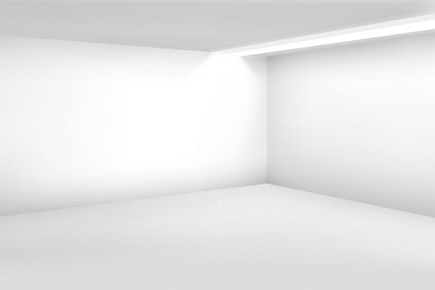 Quarto vazio branco. interior 3d vazio moderno. fundo de casa de vetor Vetor Premium