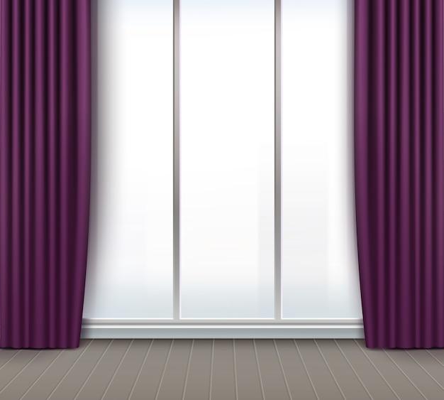 Quarto vazio de vetor com janela grande e cortinas roxas e violetas Vetor grátis