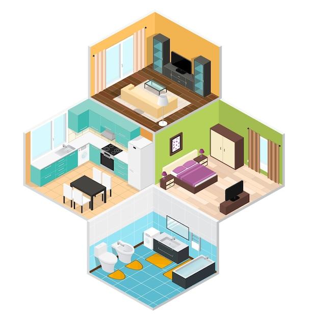 Quartos internos da casa em vista isométrica Vetor Premium