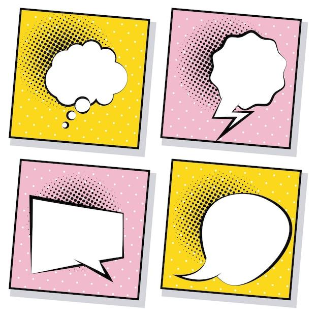 Quatro balões de fala retrô desenhados em estilo pop art em fundos rosa e amarelos. Vetor Premium