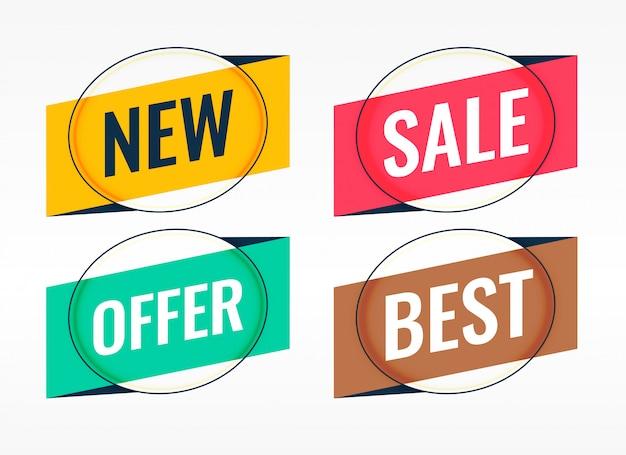 Quatro banners promocionais de origami e venda Vetor grátis