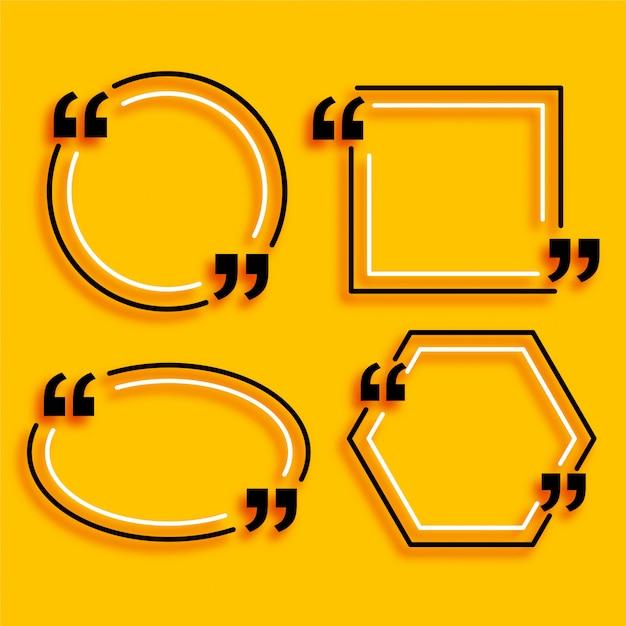 Quatro caixas de cotação de estilo de linha geométrica Vetor grátis