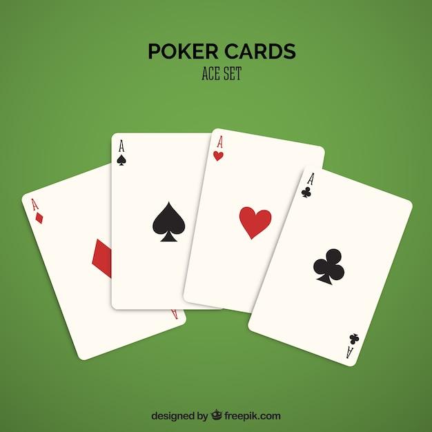 Quatro cartas de casino em vermelho e preto Vetor Premium