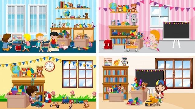 Quatro cenas com crianças brincando em salas diferentes Vetor grátis
