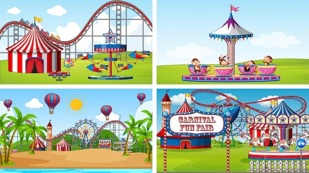 Quatro cenas com muitos passeios na feira de diversões Vetor grátis