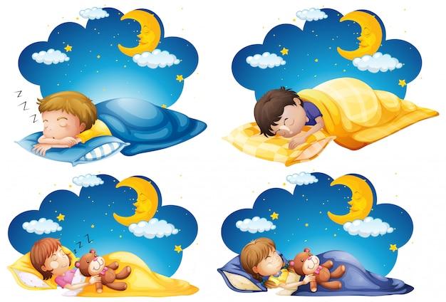 Quatro cenas de criança dormindo na cama durante a noite Vetor grátis