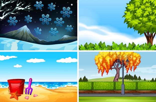 Quatro cenas de diferentes temporadas fundo Vetor Premium