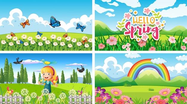 Quatro cenas de fundo com crianças e animais no parque Vetor grátis