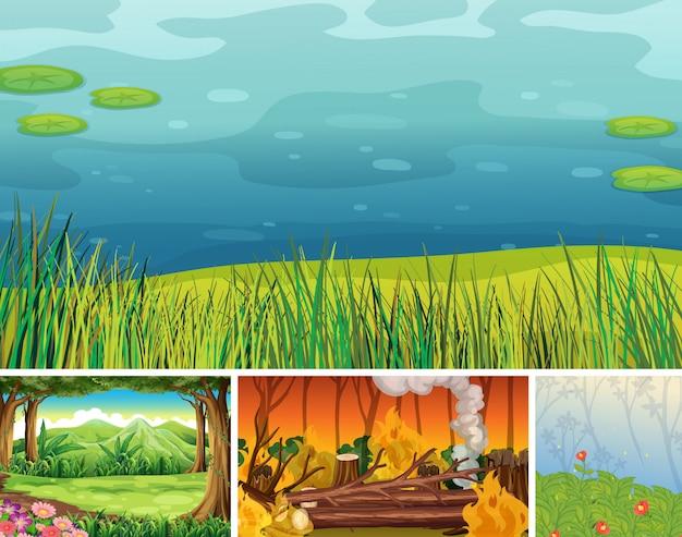 Quatro cenas diferentes de desastre natural do estilo dos desenhos animados da floresta Vetor grátis