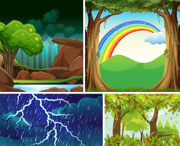 Quatro cenas diferentes de desastres naturais de estilo de desenho animado da floresta Vetor grátis