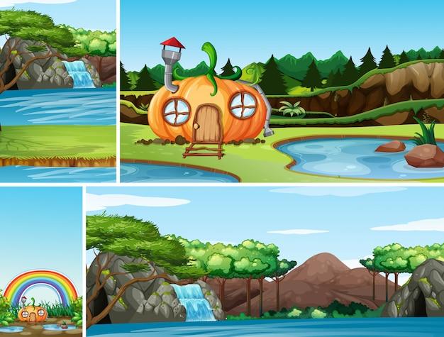 Quatro cenas diferentes do mundo de fantasia da natureza com a casa da abóbora no conto de fadas e a cena da queda d'água Vetor grátis