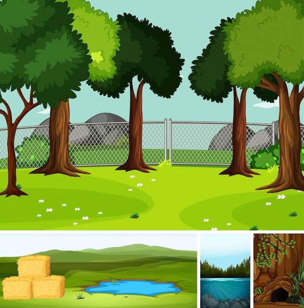 Quatro cenas diferentes na natureza, definindo o estilo cartoon Vetor grátis