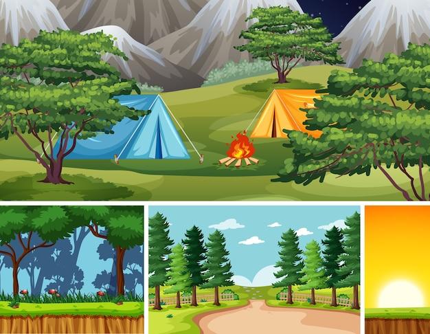 Quatro cenas diferentes no cenário da natureza Vetor grátis