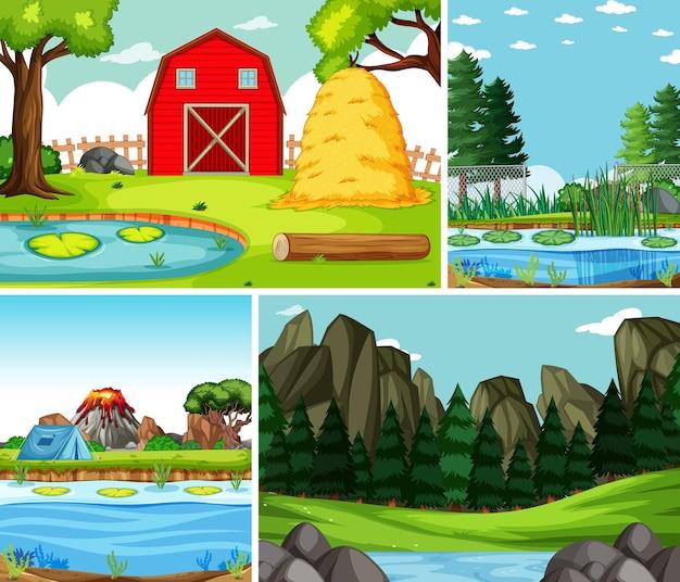 Quatro cenas diferentes no estilo cartoon da natureza Vetor Premium