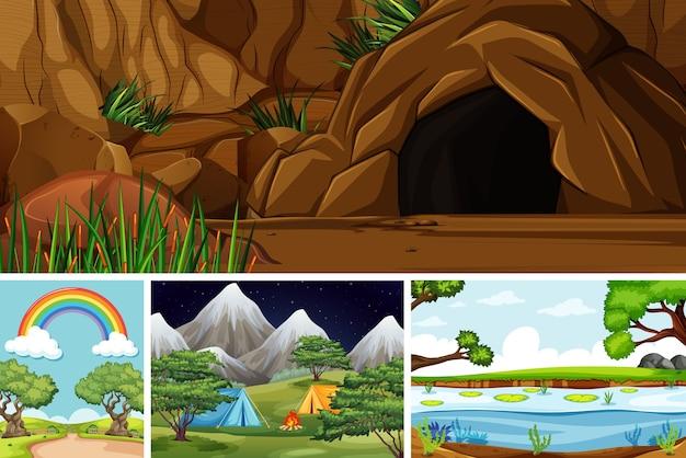 Quatro cenas diferentes no estilo desenho animado da natureza Vetor Premium
