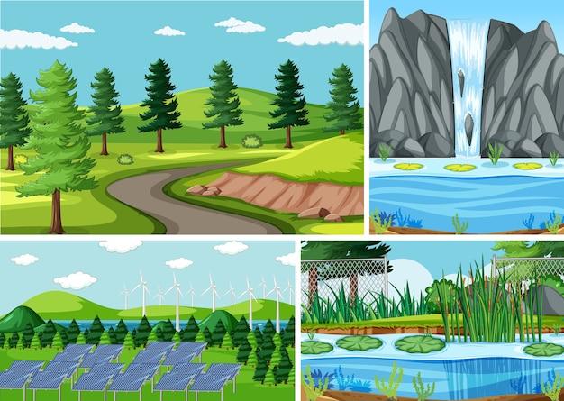 Quatro cenas diferentes no estilo desenho animado da natureza Vetor grátis
