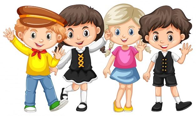 Quatro, crianças, waving, mãos Vetor grátis