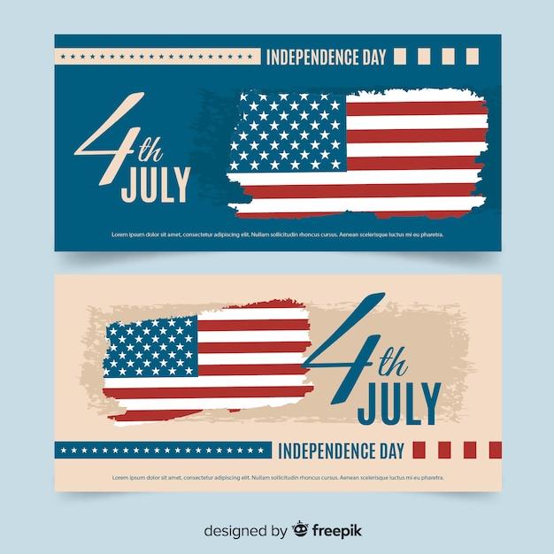 Quatro de julho banners Vetor grátis