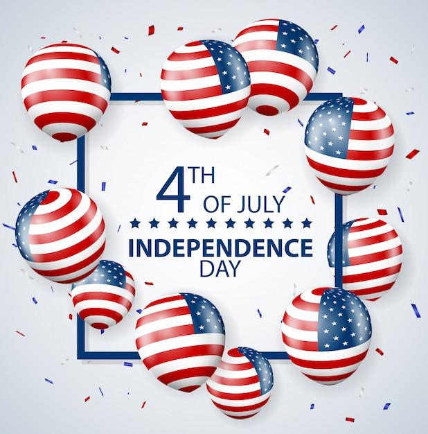 Quatro de julho dia da independência da celebração dos eua Vetor Premium