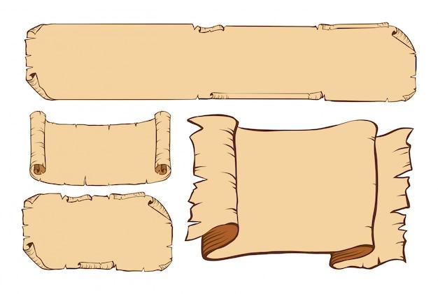 Quatro desenhos de papel antigo Vetor grátis