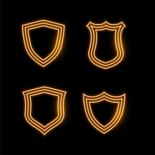 Quatro, dourado, néon, escudo, ícones Vetor grátis