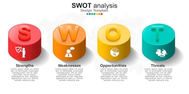 Quatro elementos coloridos com ícones para análise swot Vetor Premium