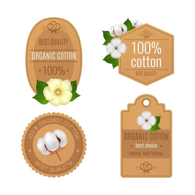 Quatro emblemas de algodão rótulos realista transparente ícone definido com algodão orgânico da melhor qualidade e descrições naturais Vetor grátis
