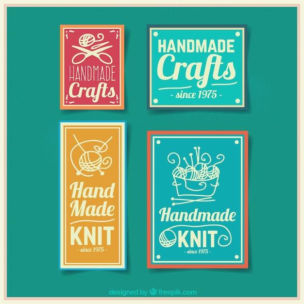 Quatro emblemas para artesanato Vetor grátis