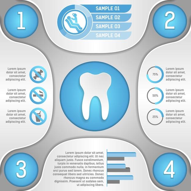 Quatro etapas para dentes saudáveis ilustração em vetor modelo infográfico Vetor Premium