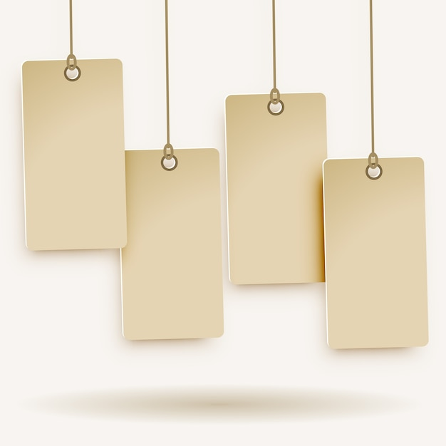 Quatro etiqueta de preço em branco Vetor Premium