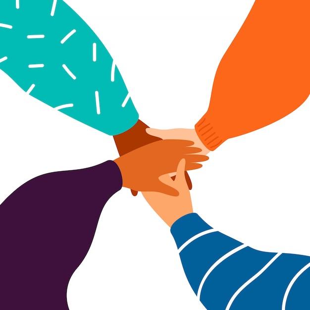Quatro, femininas, mãos, apoio, um ao outro Vetor Premium
