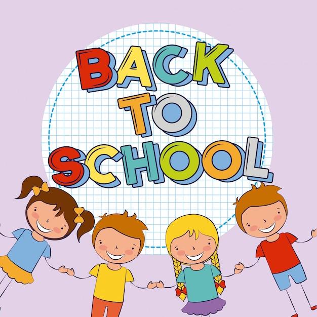 Quatro filhos de volta à ilustração da escola Vetor grátis