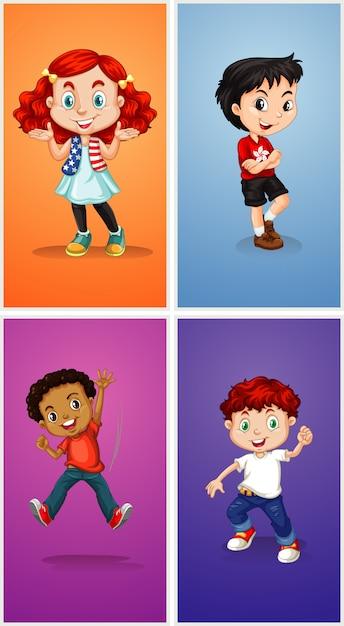 Quatro filhos em plano de fundo diferente Vetor grátis