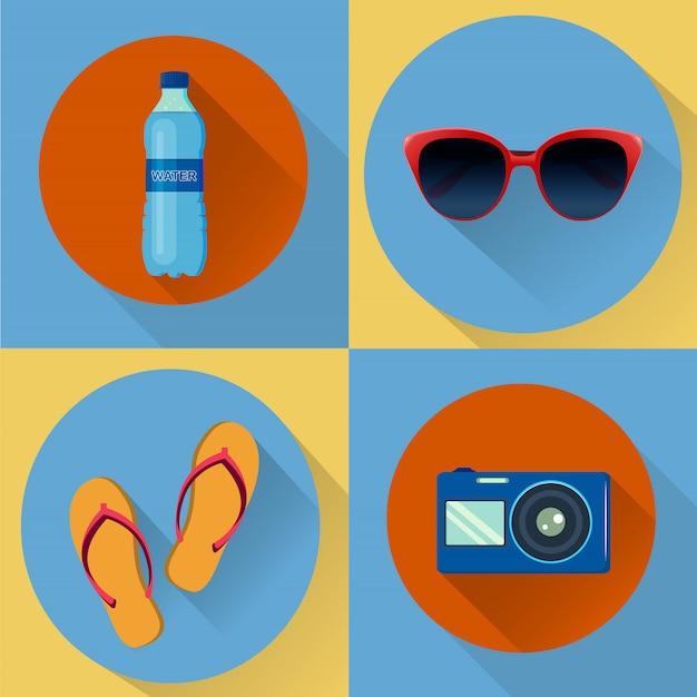 Quatro ícones de férias de vetor. Vetor Premium