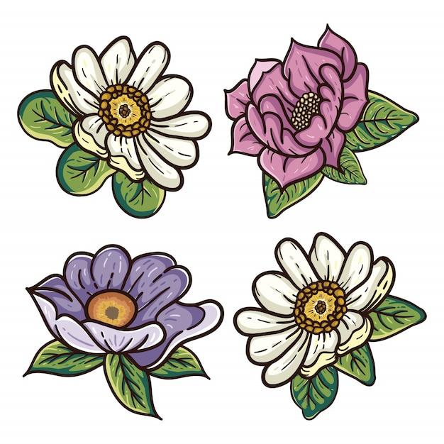 Quatro ilustrações florais Vetor Premium