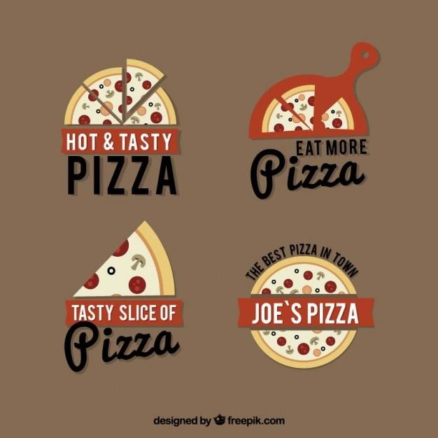 Quatro logotipos para a pizza em um fundo marrom Vetor grátis