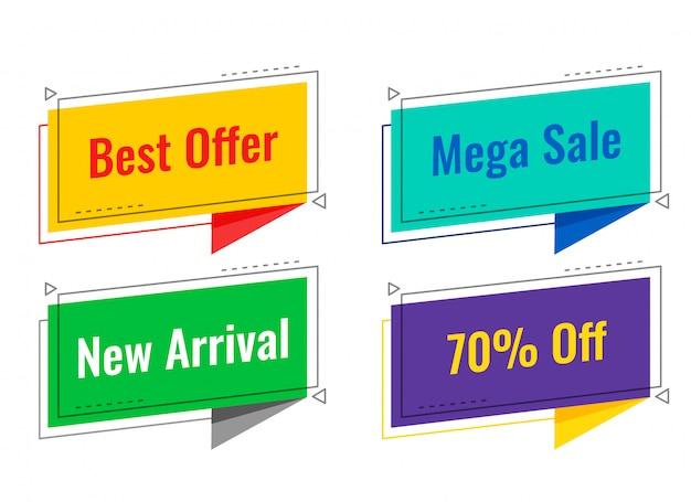 Quatro marcas de venda no estilo de bolha de bate-papo Vetor grátis