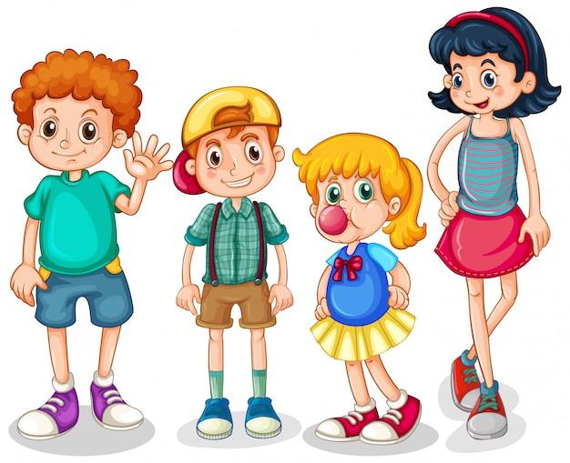 Quatro meninos felizes em pé no fundo branco Vetor grátis
