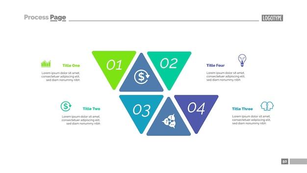 Quatro opções abordam o modelo de slide Vetor Premium