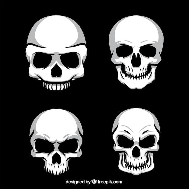 Quatro pacote crânios macabro Vetor Premium
