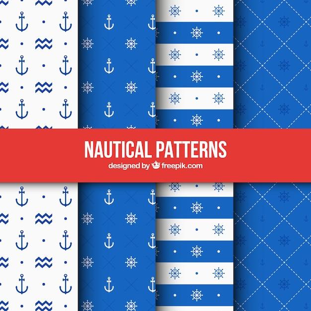 Quatro padrões náuticas azuis Vetor Premium
